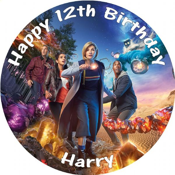 DR WHO JODIE WHITTAKER EDIBLE ROUND BIRTHDAY CAKE PERSONALISED DECORATION